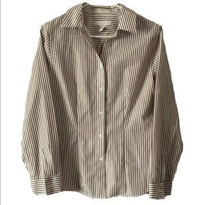 Chicos Button Front Blouse Top Gold Pinstripe